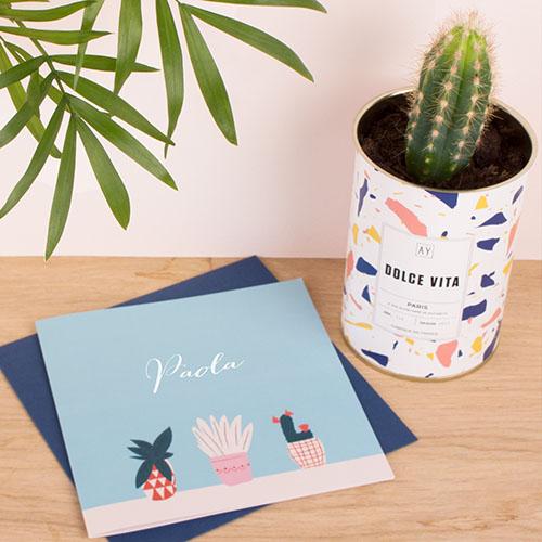 Faire part Naissance Cactus