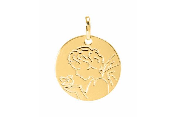 médaille moderne ange et oiseau en or