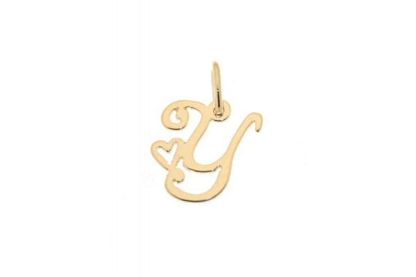 pendentif lettre initiale et coeur en or jaune